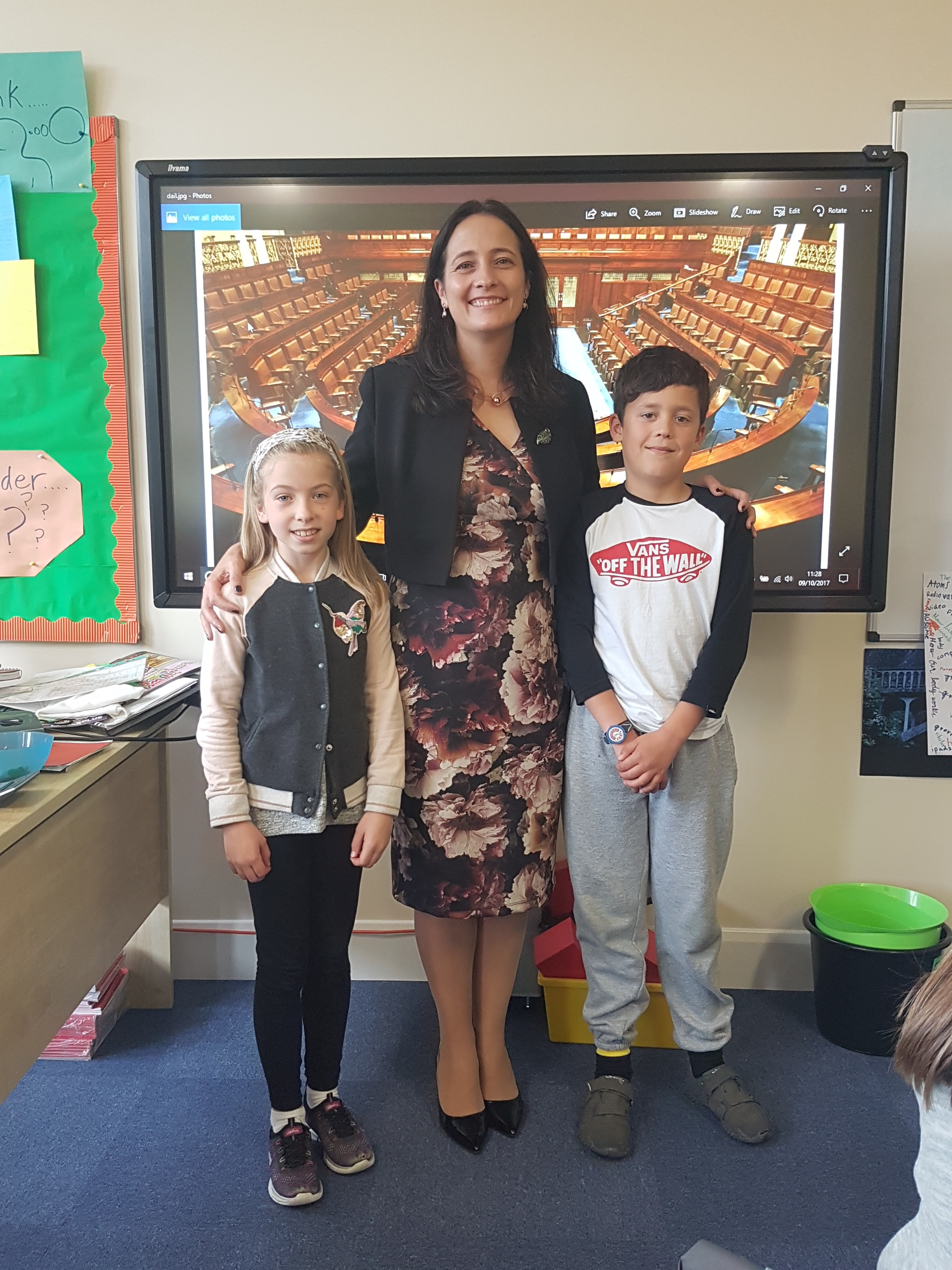 Catherine Martin TD with Student Council Representatives